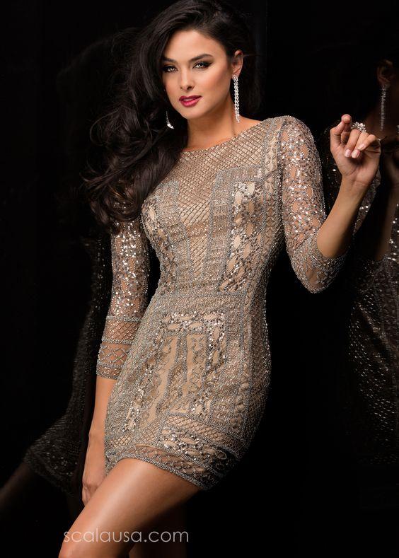 Scala 48377 - Platinum Sequin Short Dress - RissyRoos.com