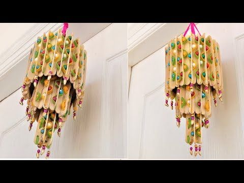 Popsicle Stick Craft Ideas Wind Chime Roof Hanging Home Decor Youtube Diy Popsicle Stick Crafts Craft Stick Crafts Popsicle Stick Crafts