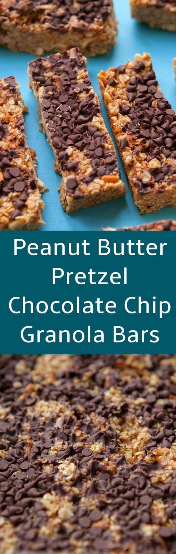 These Homemade Peanut Butter Pretzel Chocolate Chip Granola Bars are about to become your new favorite breakfast, snack and dessert! This is a healthy copycat recipe for Quaker Peanut Butter Chocolate Chip Granola Bars.: