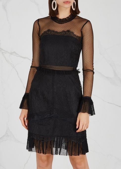 Pitch Black Lace Mini Dress Three Floor Black Lace Mini Dress