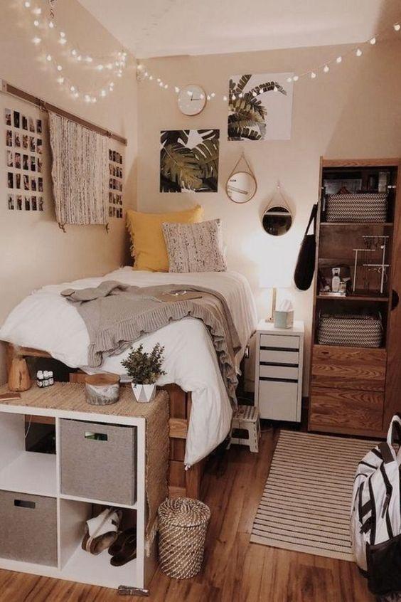 Dormitory Bedroom College Student Furniture Interior Design In 2020 College Dorm Room Decor Cool Dorm Rooms Dorm Room Decor