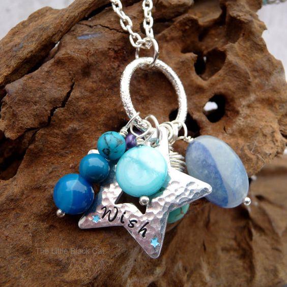 Wish necklace Star Pendant Turquoise by TheLittleBlackCatUK