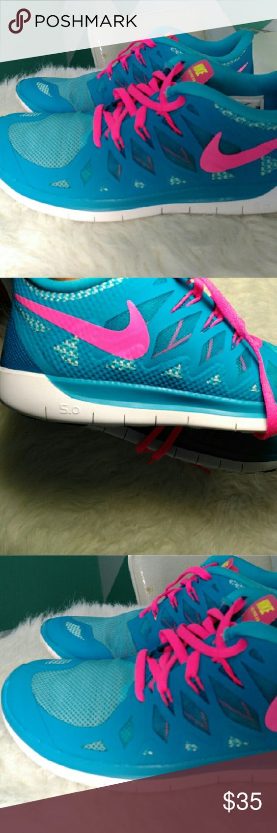 Nike Free 5.0 Nike: Running Shoes Size: 7 Color: Blue-Pink LightWeight Very Clean Great Condition.  (See Pictures above) Used about 3x to run errands. Nike Shoes Athletic Shoes