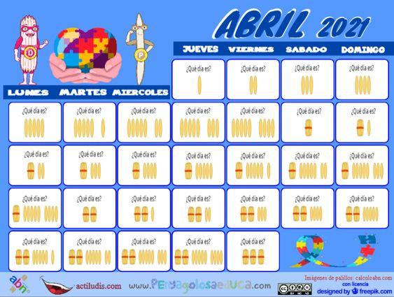 Calendario palillos infantil ABN – Abril 2021