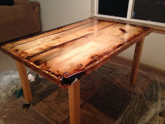 Epoxy Finished Rustic Dining Table Lego Tray Diy