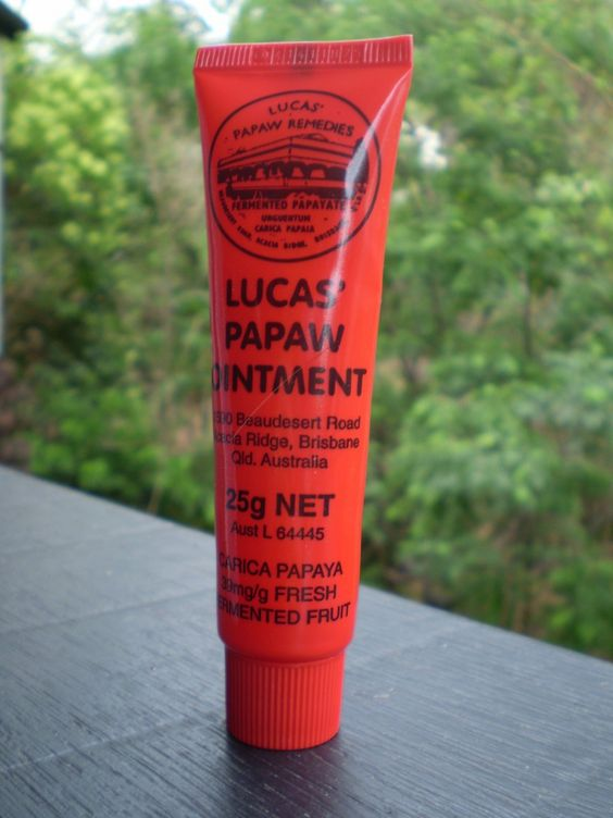 Lucas Paw Paw ointment. For lips, eyebrow grooming, frizzy ends, children's scrapes and stings, beard rash (husband!)...the list goes on and on.