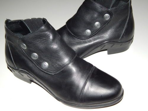 ARIAT Spat III black leather side-snap ankle boots women size 10