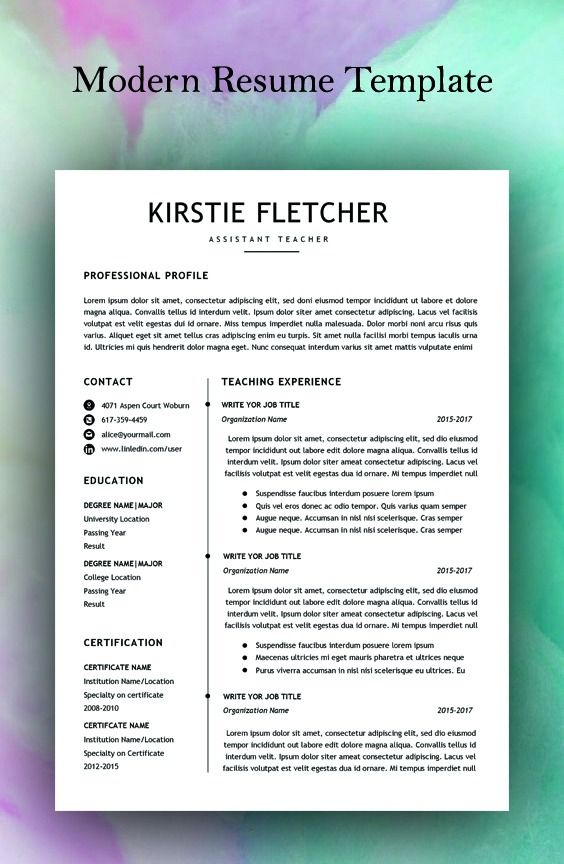 Microsoft Word Resume Templates 2015.Resume Template Professional Resume Template Instant
