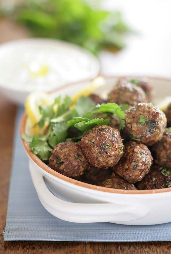 "Brigitte Hafner's Spicy Arabic lamb meatballs. ""Delicious warm or cold, these spicy meatballs are also excellent served with a bowl of yoghurt and chopped mint."""