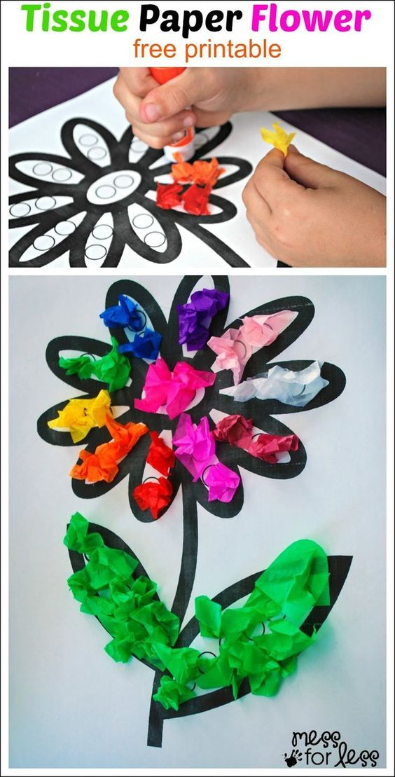 Tissue Paper Flower Art Activity Fine Motor Tissue