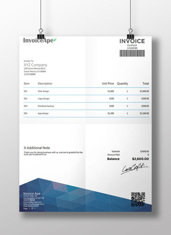 New invoice template from invoiceape Free Professional - invoice creator