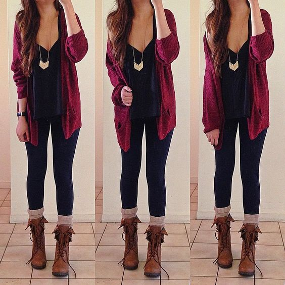 Burgundy Cardigan, Black Tank, Gold Necklace, Black Leggings, Cream Boot Socks, & Brown Boots