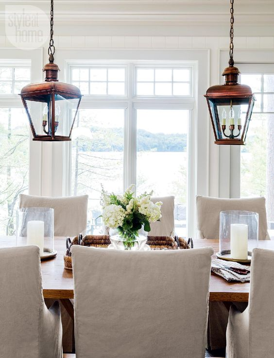 Country casual copper pendant lights and house tours on for Casual dining room light fixtures