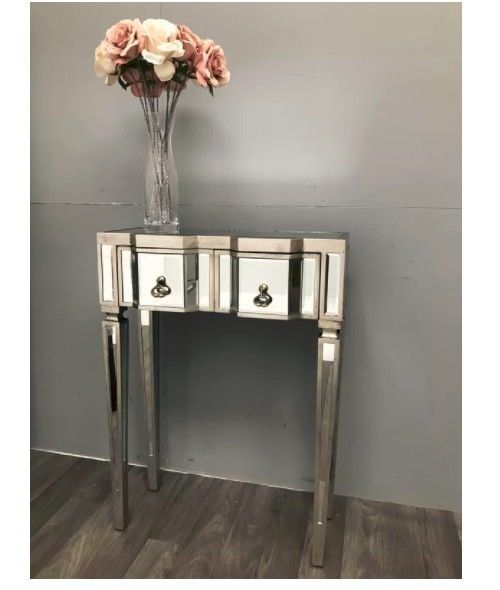 Small Console Table Hall Vintage Mirrored Lamp Stand Storage