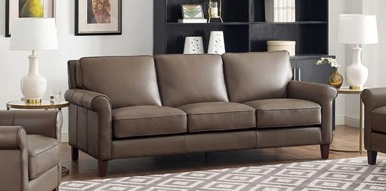 Nổi bật không gian với sofa da thật tphcm màu xám