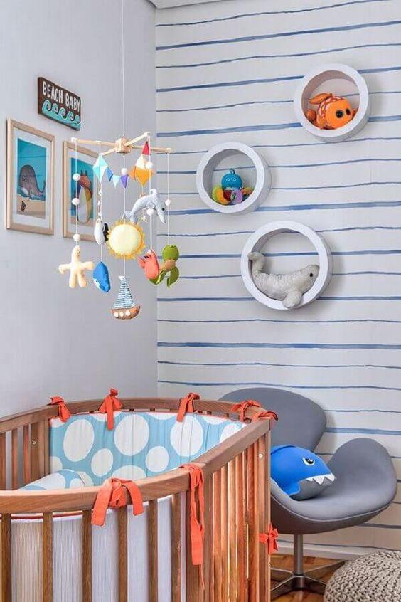 nicho redondo para quarto de bebê decorado com tema fundo do mar #nichoredondo #nicho