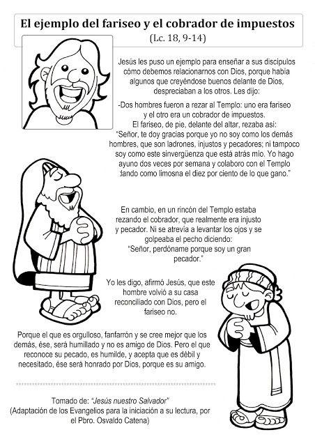 El Rincón De Las Melli Evangelio Adaptado La Oración Del Fariseo Y E Historias De La Biblia Para Niños Biblia Para Niños Manualidades De La Biblia Para Niños