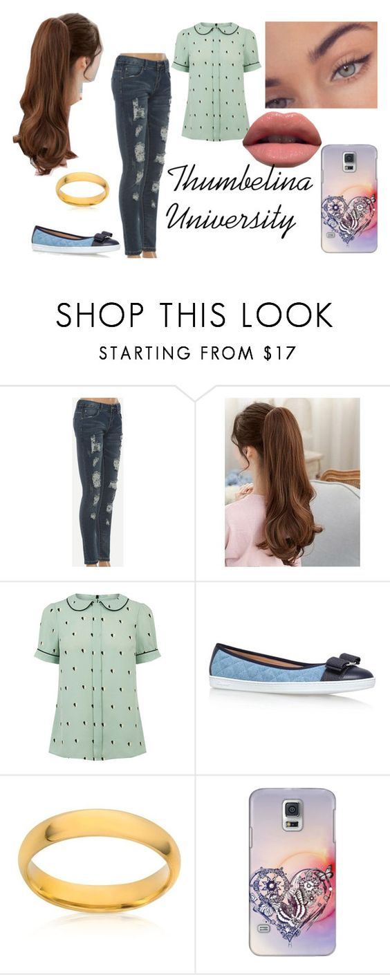 """""""Thumbelina University"""" by xarazelyx ❤ liked on Polyvore featuring Salvatore Ferragamo, Belk & Co. and Casetify"""