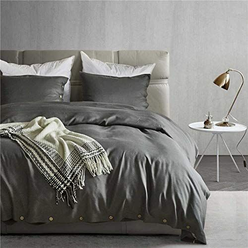 Cleave Waves 3pcs Duvet Cover Set Dark Gray 100 Cotton Hotel Bed
