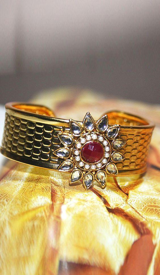 #Bangles, #Bracelets & #Kadas - Stone Studded Bracelet With Gold Finish Costs Rs. 675. #Jewellery. BUY it here: http://www.artisangilt.com/stone-studded-bracelet-with-gold-finish-67123.html?ref=pin