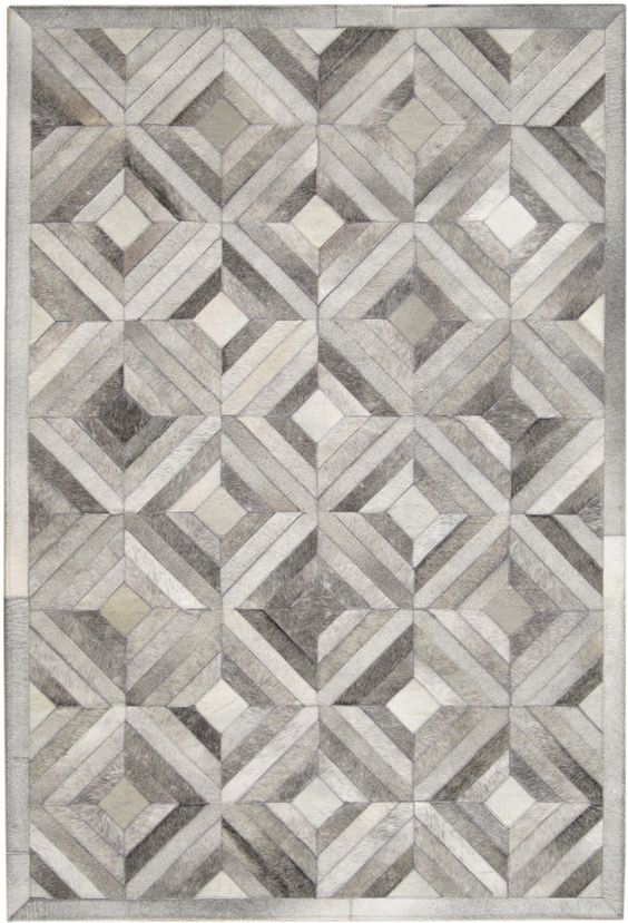 Madisons Gray Parquet Pattern Patchwork Cowhide Rug Grey