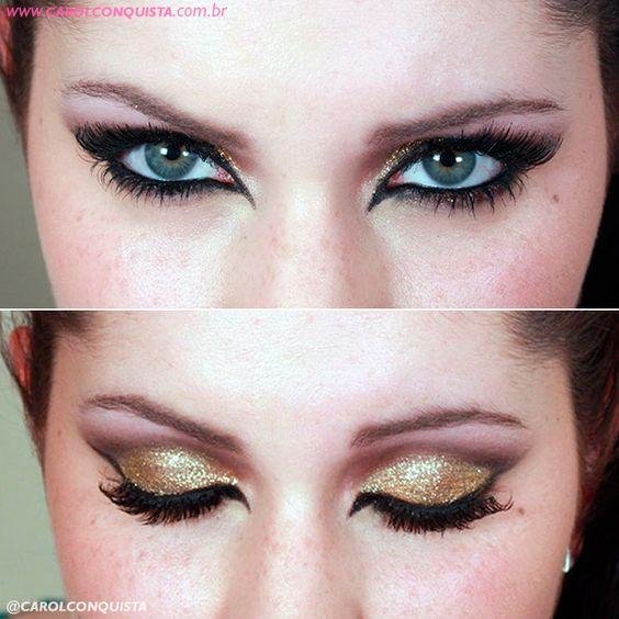 #carnaval #blog #blogueira #maquiagem #makeup #brasil #brazil #beauty #beleza #olhos #eyes #glitter #cateye #strass #gold #dourado