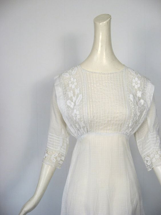 Antique Edwardian Dress / White Tea Dress / by SmallEarthVintage