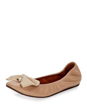 Pearly+Bow+Ballerina+Flat,+Nude+by+Lanvin+at+Neiman+Marcus.