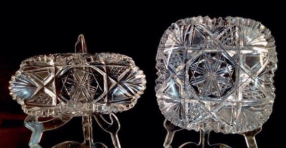 """American Brilliant Cut Glass Very Nice Pair Of Dishes LIBBEY'S 'HARVARD"""" circa 1885 by VioletAndValley on Etsy https://www.etsy.com/listing/194156235/american-brilliant-cut-glass-very-nice"""