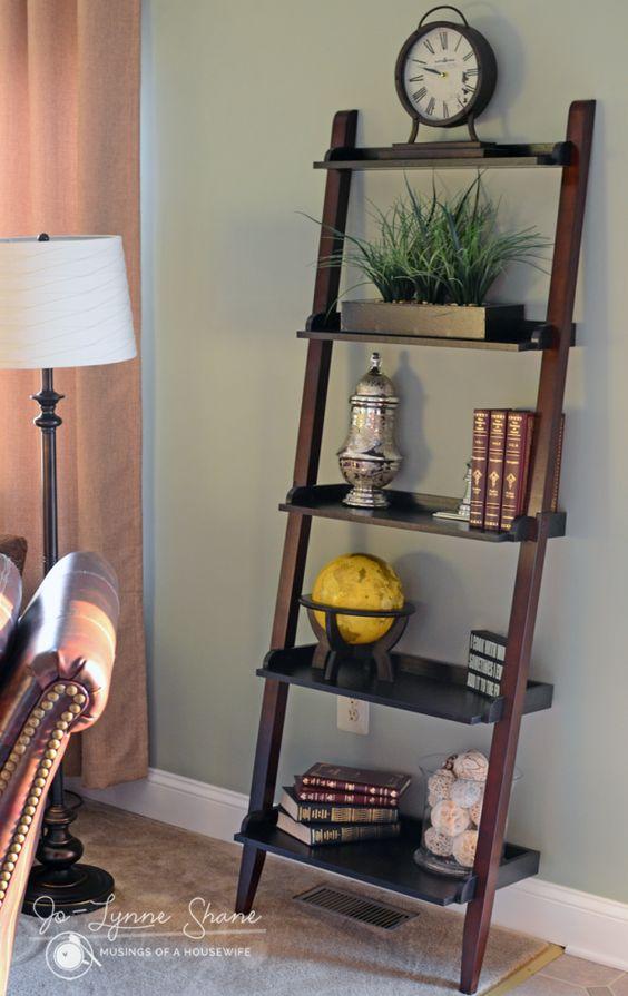 Summertime family room makeover ladder shelf decor narrow bookshelf and target - Minimalist images of bookshelves with ladder for home interior decoration ...