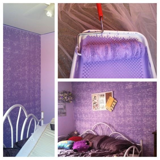 Paint walls one color. Tie yarn around roller, and paint wall(s) with a darker color.