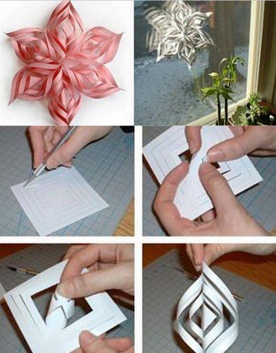manualidades copos de nieve de papel tutorial: http://www.manualidadesinfantiles.org/manualidades-navidenas-copos-de-nieve/