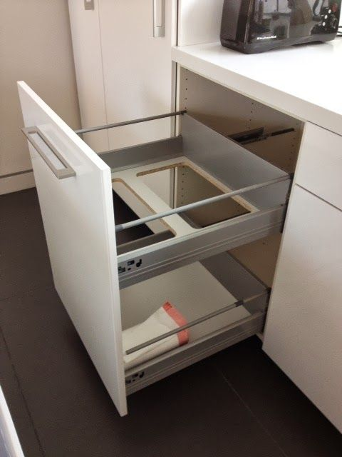 Non flimsy full height 24 wide recycling and trash cabinet ikea hackers interiors - Ikea cabinet trash pull out ...