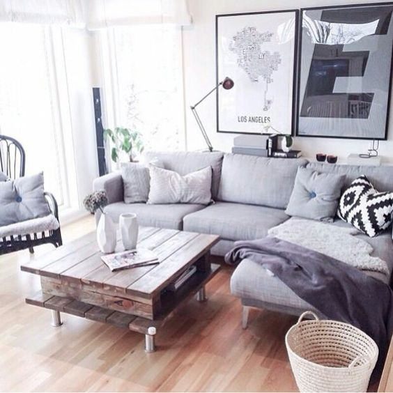 Grey couch and wood: