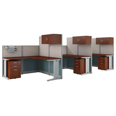 Bush Business Furniture 3 Person Cubicle Workstations 9 Piece L