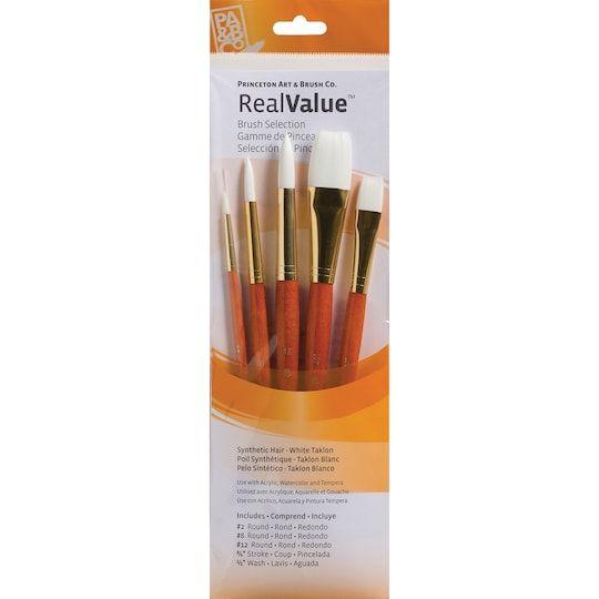 Princeton Art Brush Co Realvalue White Taklon Brush Set