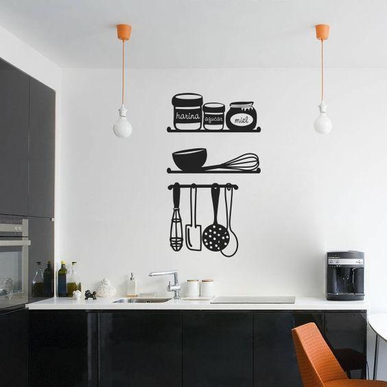 Vinilo decorativo con siluetas de baldas de cocina con - Vinilos de cocina ...