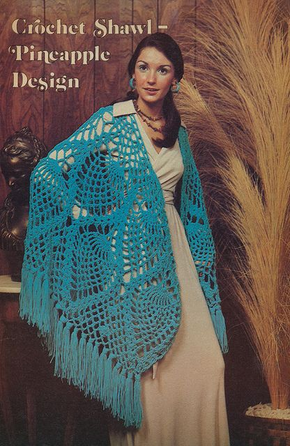 One of the more appealing 1970s crochet creations. #crochet #shawl #retro #vintage #1970s #fashion