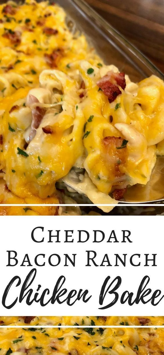 A delicious recipe made with pasta, chicken, bacon and homemade cheddar ranch sauce!