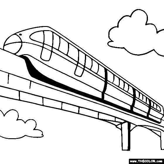 Monorail Coloring Page Monorail Train Coloring Train Coloring Pages Coloring Pages Birthday Images For Men