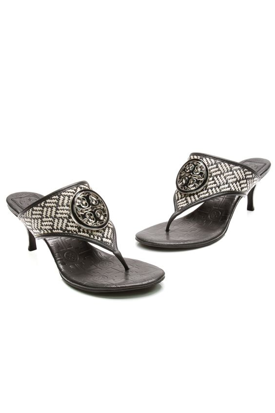 Tory Burch Black &amp White Woven Straw Kitten Heel Sandals | Straws