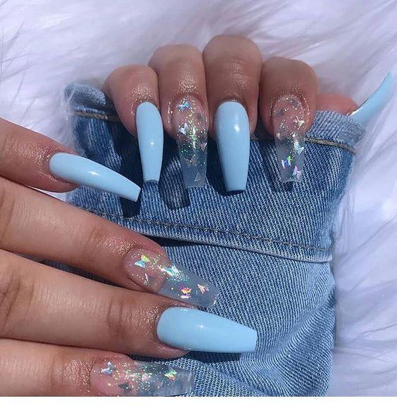 Amazing Light Blue Long Nails Chicladies Uk Amazing Blue Chicladiesuk Light Long Nai Best Acrylic Nails Blue Acrylic Nails Glamour Nails