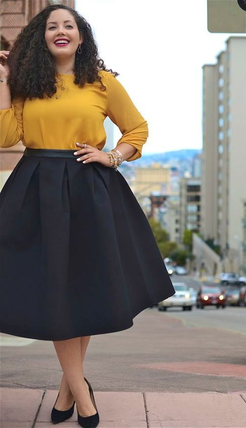 A-line skirt and yellow blouse | Curvy outfits, Curvy girl fashion, Best  plus size clothing