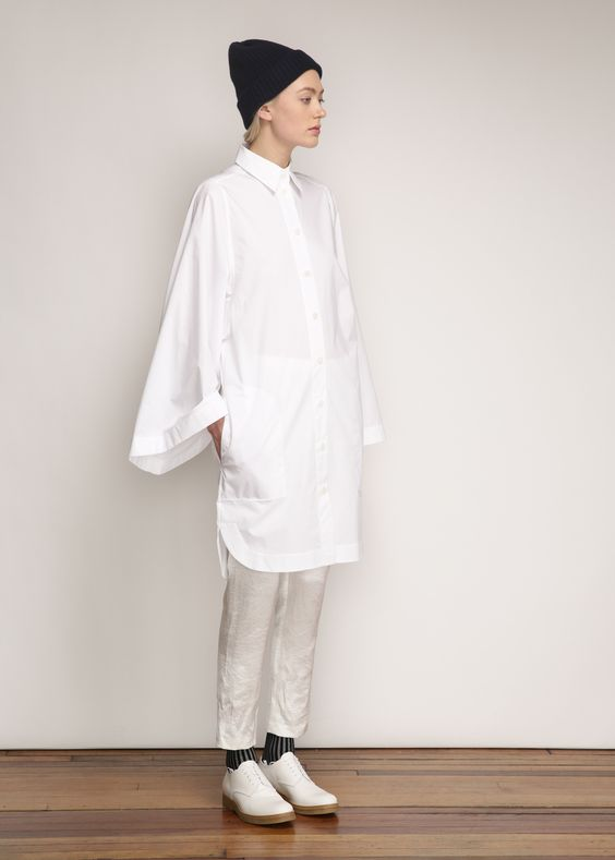 Acne Studios Caden Tech Dress in Paper White: