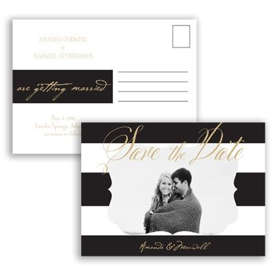 Wedding Bands Save the Date Postcard by David's Bridal #savethedate #davidsbridal #weddinginvitation