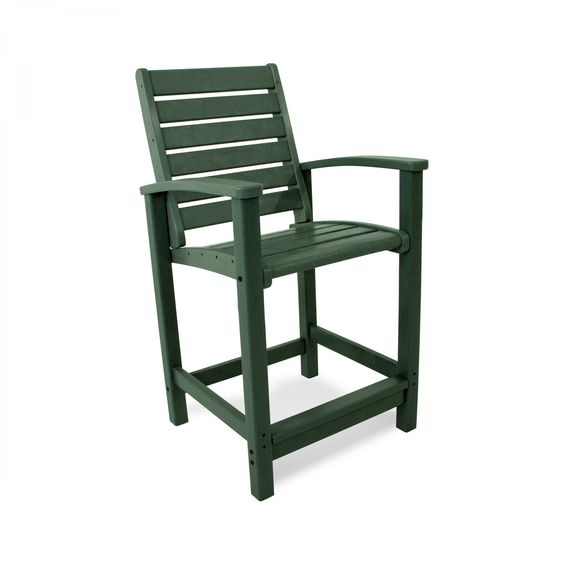 The POLYWOOD Signature Counter Chair gives you just the right height you need to see over the railing on your balcony or deck. Enjoy the stylized arms of this outdoor chair constructed from all weather POLYWOOD HDPE recycled plastic lumber. The POLYWOOD Signature Counter Chair will not absorb liquid so it will not rot, corrode, chip, splinter or peel. Nor will this outdoor patio furniture require sanding, painting or refinishing because although it looks like painted wood, this all…