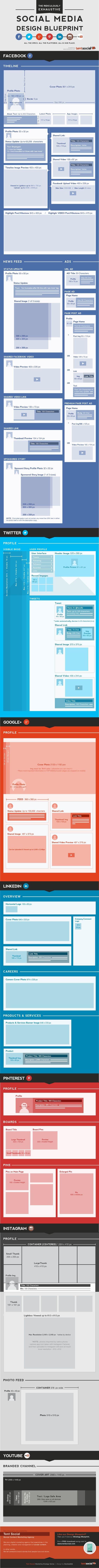 The Ridiculously Exhaustive Social Media Design Blueprint  #Infographic #SocialMedia #CheatSheet