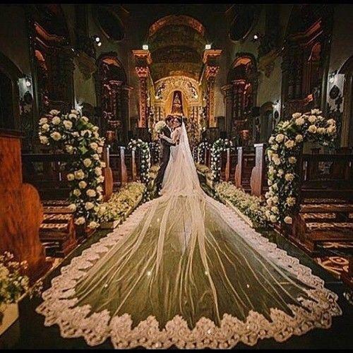 Cathedral Length 5M Bridal Veil Lace Applique Handmade Wedding Veil Free Comb