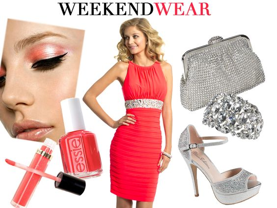 Camille La Vie Neon Short Cocktail Party Dress with shoes and accessories to match