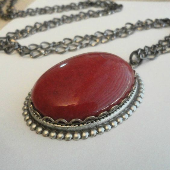 Red Cameo Necklace on Blackened Silver with Gunmetal Link Chain Gothic Jewelry